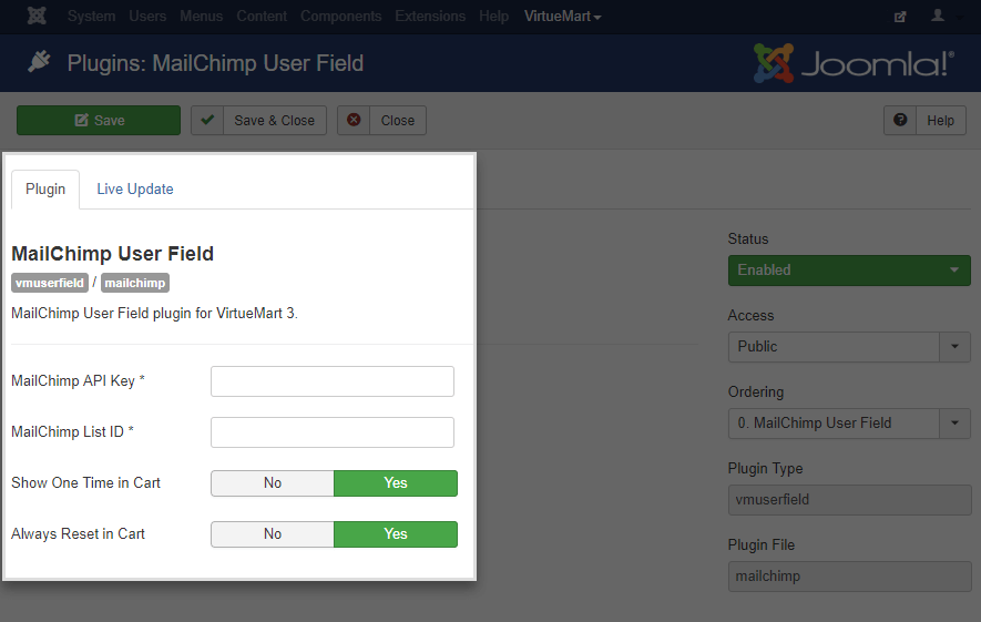 MailChimp Field for VirtueMart