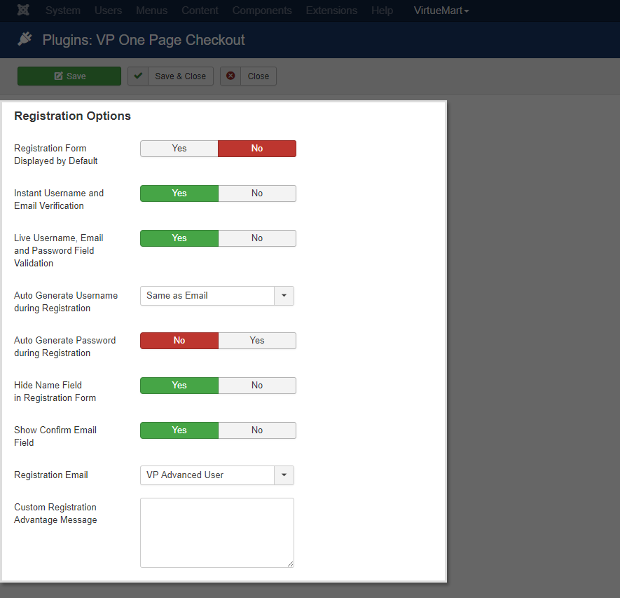 VP One Page Checkout Registration Options