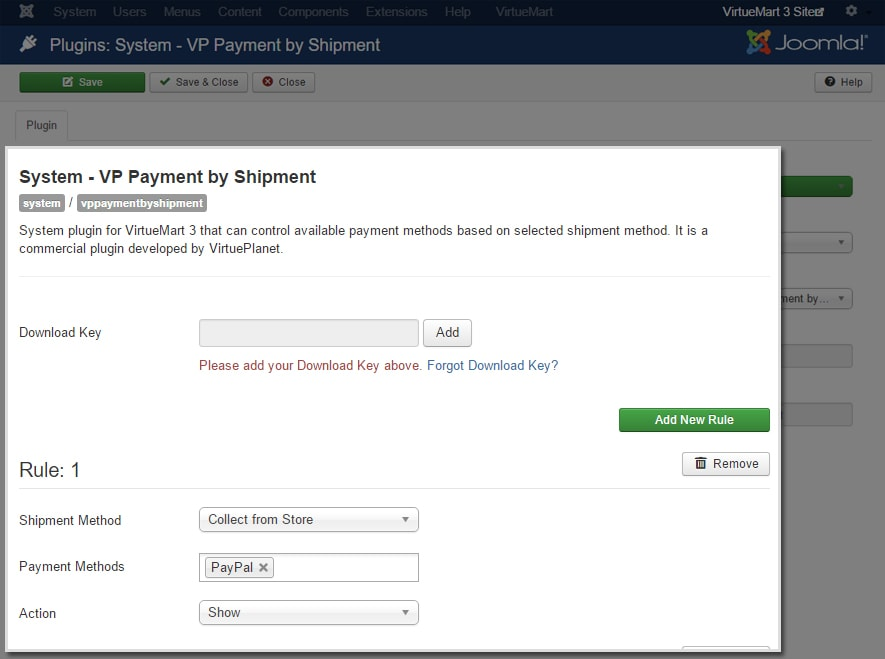 VP Payment by Shipment for VirtueMart