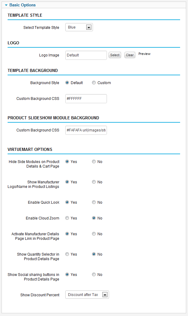 VP ProMart Template Options