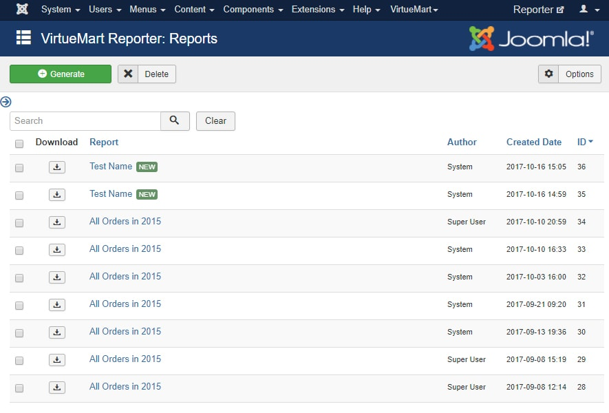 VirtueMart List of Reports