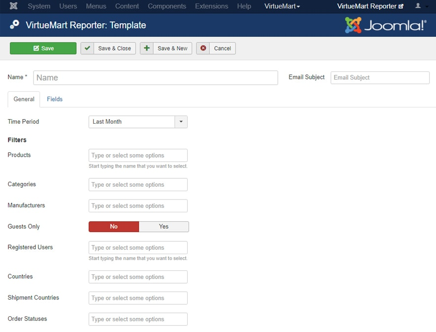 VirtueMart Reporting Template Settings