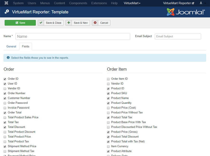 VirtueMart Reporting Template Fields