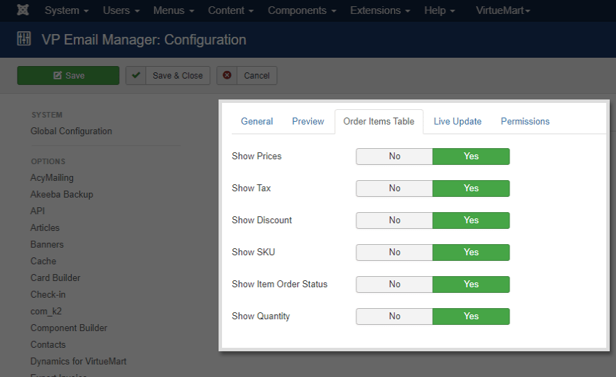VP Email Manager - Order Items Table Configuration
