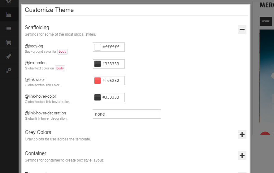 Customize Theme
