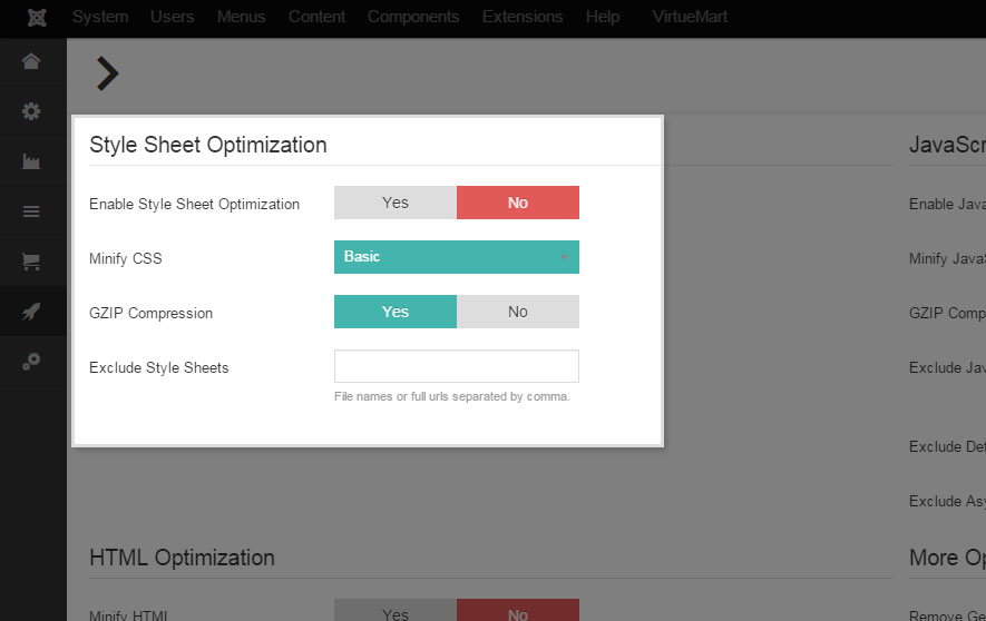 Style Sheet Optimization Settings