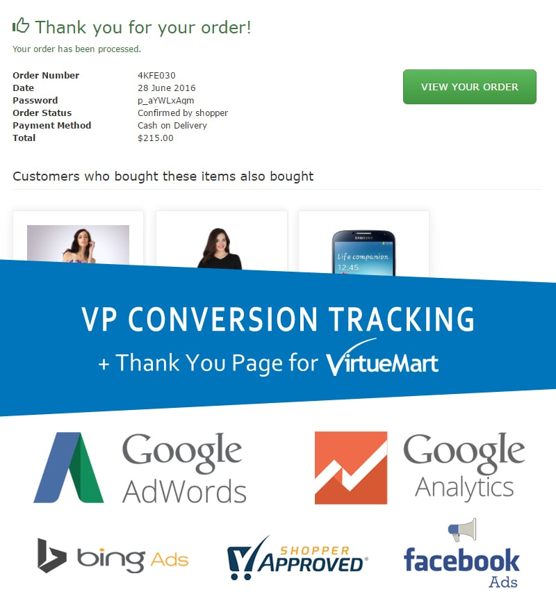 VP Conversion Tracking for VirtueMart